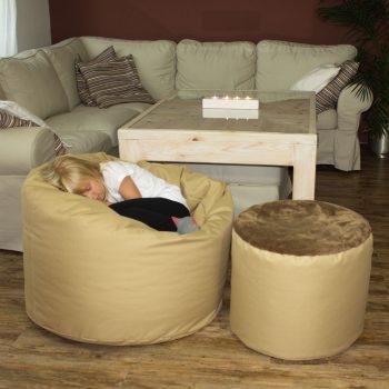 Obyvaci pokoj-sedaci vak a taburet-bezova III