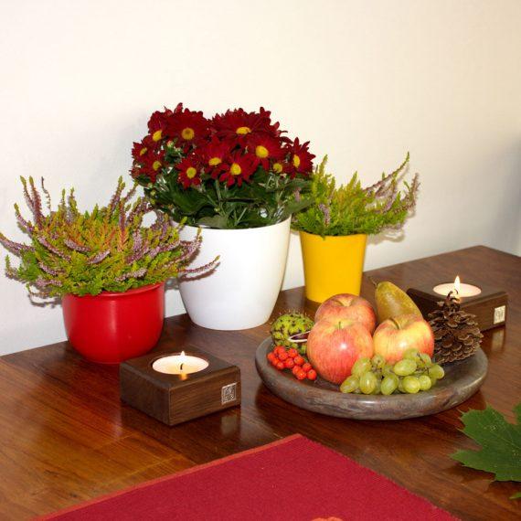 Podzimní dekorace-mramor a svicen