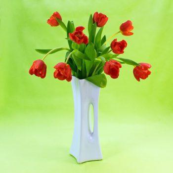 Doplnky_vaza X-vase s kvety_bila